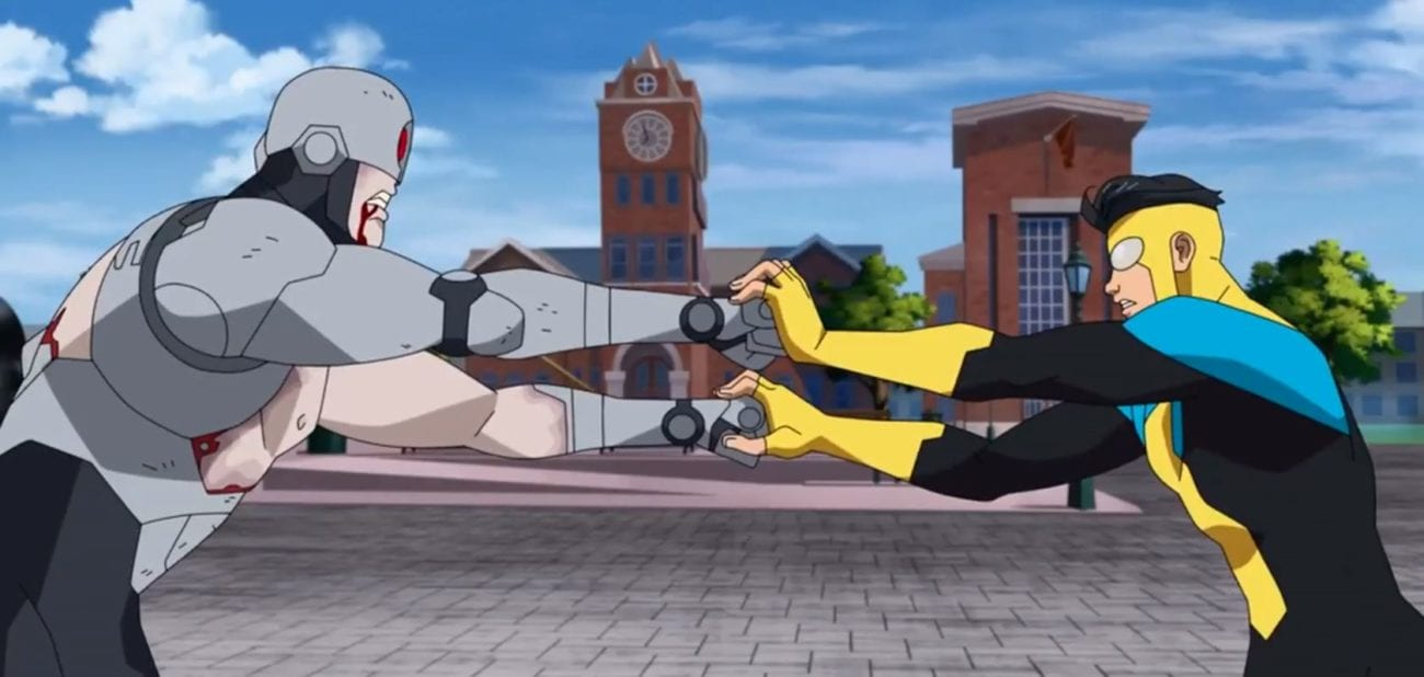 Invincible fights one of the Reanimen on the campus of Upstate University in S1E6