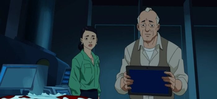 Art and Debbie examine Omni-Man's blood-spattered suit. Art is holding a tablet-like device.