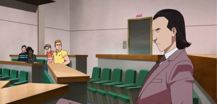 D.A. Sinclair sits in a lecture hall with Mark, Amber, Rick, and William looking on in the background.