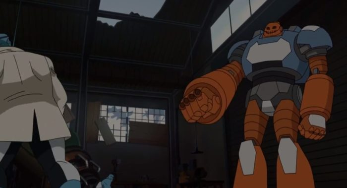 A giant Robot drone fights the Mauler twins