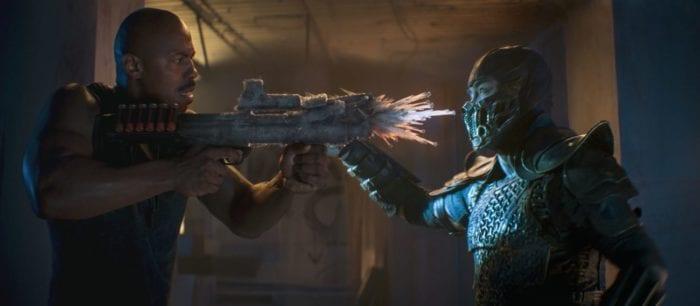 Sub-Zero freezes the assault rifle held by Jax
