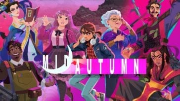 the logo for Midautumn, with several of the characters standing behind it