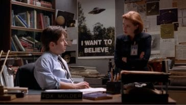 Mulder and Scully in Mulder's office