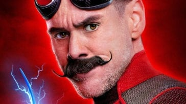 Jim Carrey looks on as Dr Robotnik on Sonic poster cover