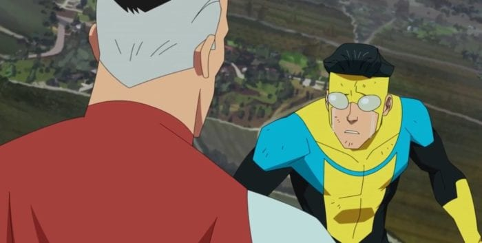 Invincible listens to Omni-man while they fly in the sky. He is in tears.