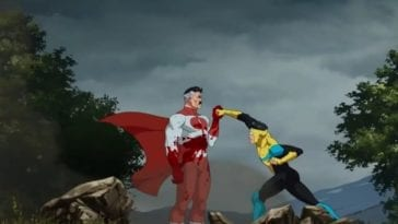 Invincible attempts to punch Omni-man, who easily catches his punch, even though Invincible is throwing his entire weight into it.