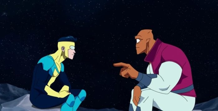 Invincible talks with Allen on the moon, mimicking their first encounter.