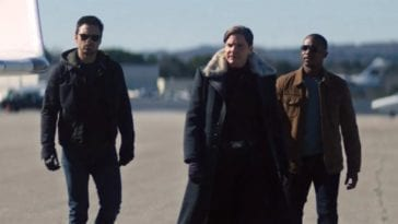 "Men walk on a tarmac in Falcon and Winter Soldier S1E3 ""Power Broker"""
