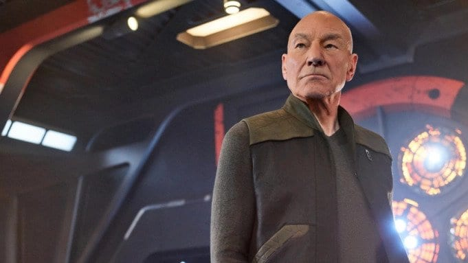 Jean-Luc Picard (Patrick Stewart) stares stoically into the distance...