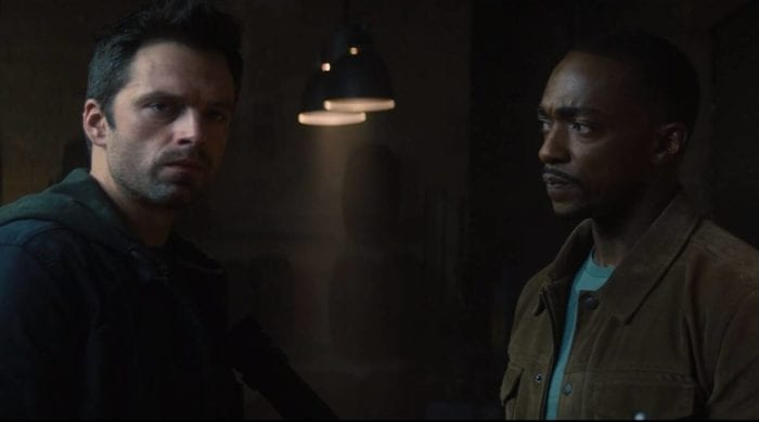 Bucky (Sebastian Stan) and Sam (Anthony Mackie) in discussion...