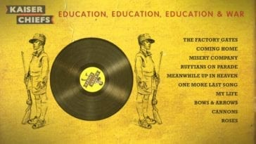 Album art from Education Education Education and War. Predominantly yellow, features a vinyl record and two soldiers in dark grey, and on the right is a list of song titles from the album