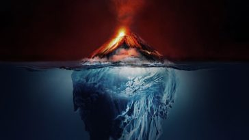 Kaleo's surface sounds album art. Depicts an iceburg that becomes a volcano above the water line