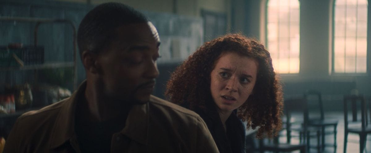 Karli looks at Sam skeptically in The Falcon and the Winter Soldier S1E4