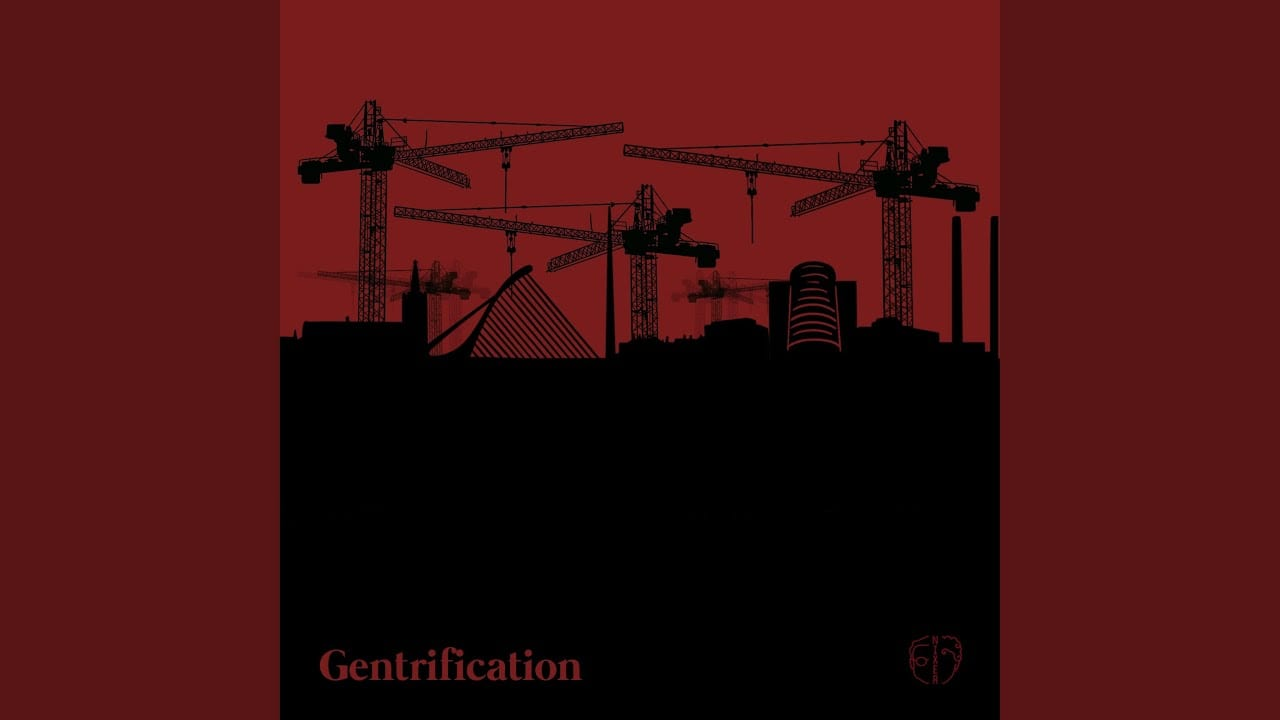 Construction equipment is drawn in black against a red background for Nixer's Gentrification