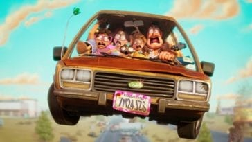 The Mitchells are mid air and screaming in their station wagon in The Mitchells vs the Machines