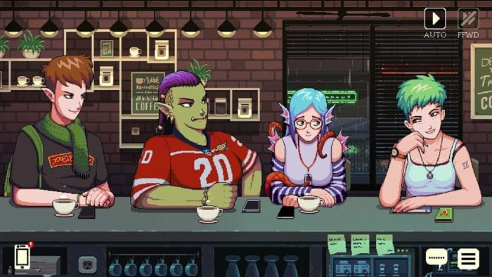 Baileys, Myrtle, Aqua and Freya sit with coffees at the counter