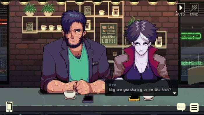 Gala and Hyde sit at the counter with coffees