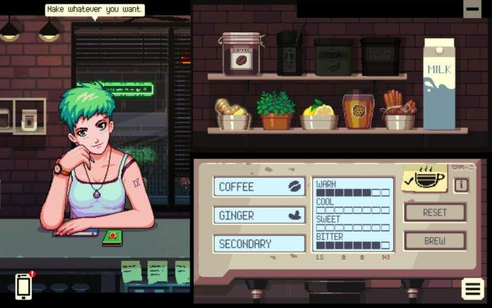 Coffee Talk drink making menu next to Freya