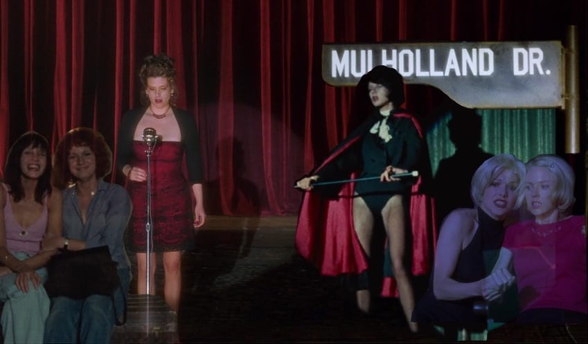 montage of images from celine and julie go boating and mulholland drive.