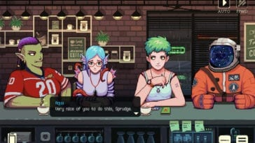 Various characters sit at a table in Coffee Talk