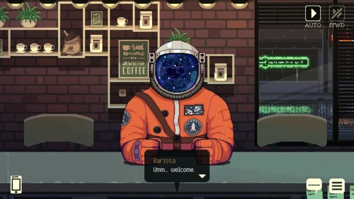 Neil sits at the counter wearing an astronaut suit.