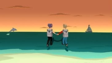 A much older Fry and Leela hold hands and walk over the ocean towards the sunset on the horizon