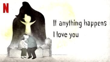 An animated father and mother embrace while the spirit of their daughter floats over them