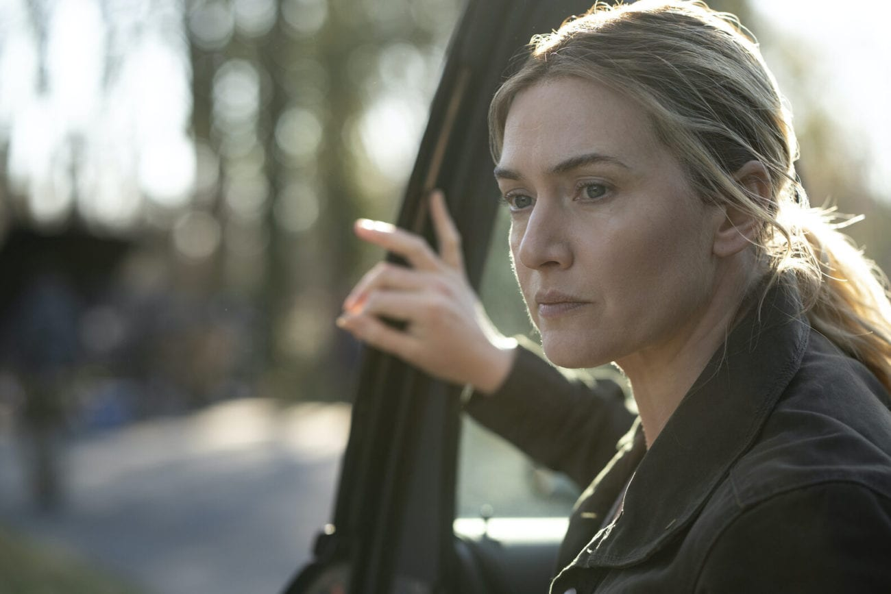 Mare (Kate Winslet) exits a car.