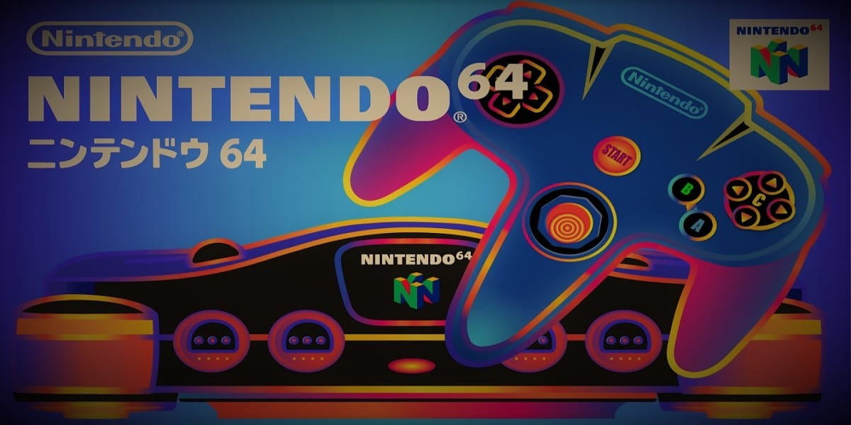 Japanese ad for Nintendo 64 features the console with neon colors