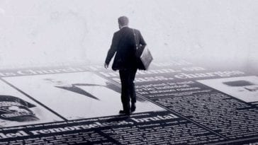 Illustration of a man in dark suit walking along giant newspaper headlines