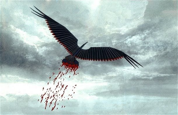 Pink Floyd: The Wall visualises the Blitz as a monstrous metal eagle flies over England, flaying parts of the landscape with its talons