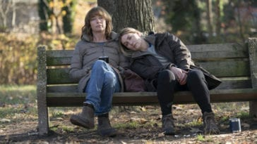Mare (Kate Winslet) seeks comfort from her friend Lori (Julianne Nicholson)
