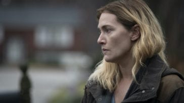 Mare (Kate Winslet) looks distraught.