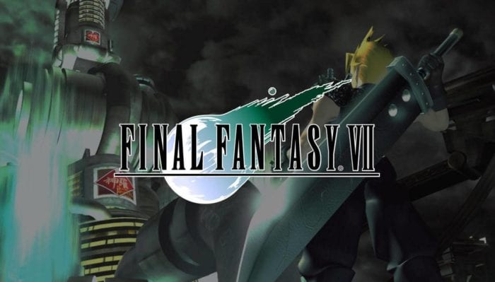 Art for Final Fantasy VII shows Cloud Strife looking up at a massive building
