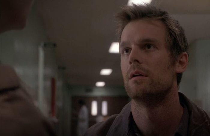 Nate makes a Nate face in the hallway of the hospital in the Six Feet Under pilot