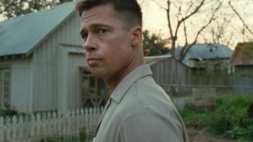 Brad Pitt stares off into the middle distance