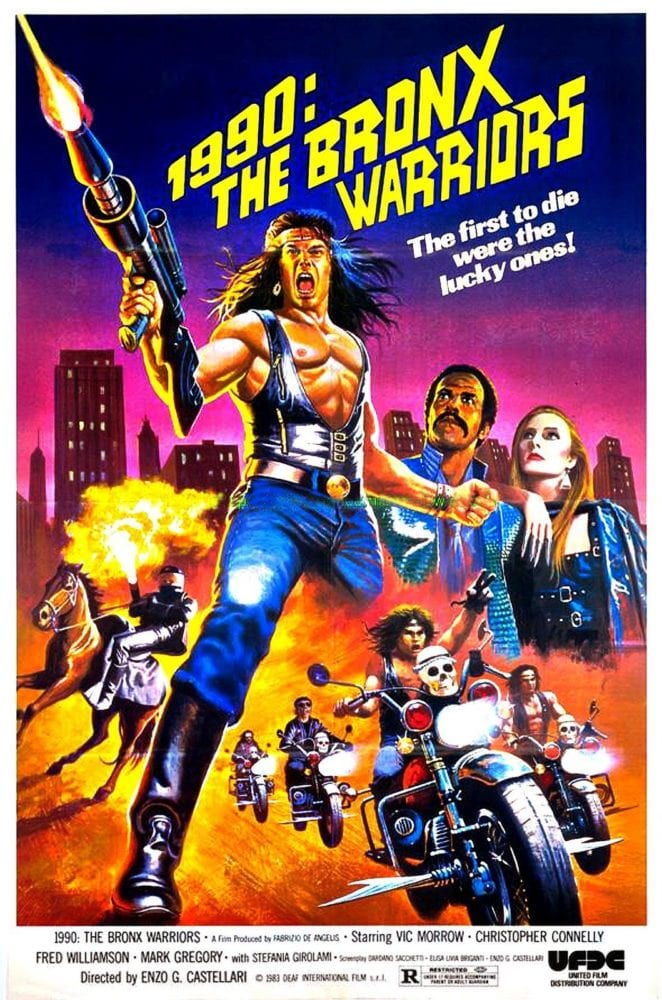 Movie poster for 1990: Bronx Warriors with drawings of a post-apocalyptic motorcycle gang