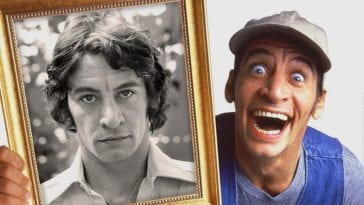 Jim Varney as Ernest P. Worrell holds a picture of himself out of character