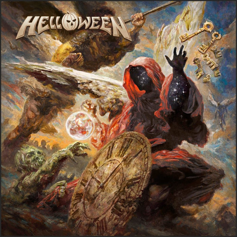 Various mythopoetic images from across Helloween's career including the mysterious Keeper of the Keys seen on several album