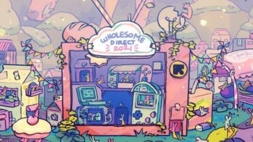 The banner for the Wholesome Games direct 2021, with a television in nature motif