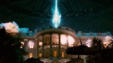 The White House begins to explode from an alien attack.