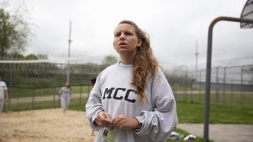 Jacinta Hunt is depicted wearing a sweatshirt with the letters MCC at Maine Correctional Center