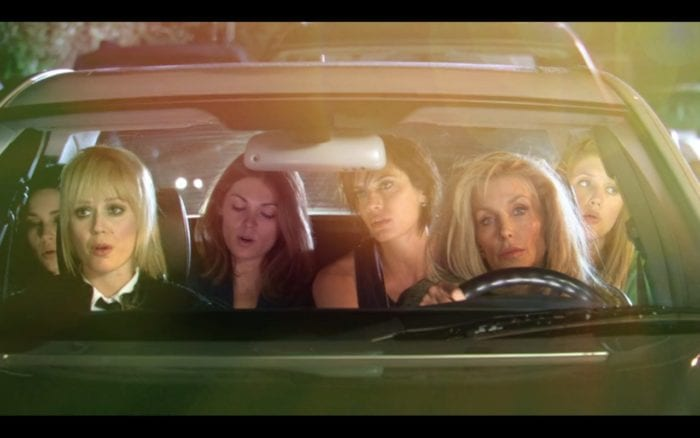 The cast of Girltrash find themselves singing in a car.