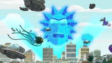 A giant blue hologram of Rick's head looms over a city, surrounded by different spaceships
