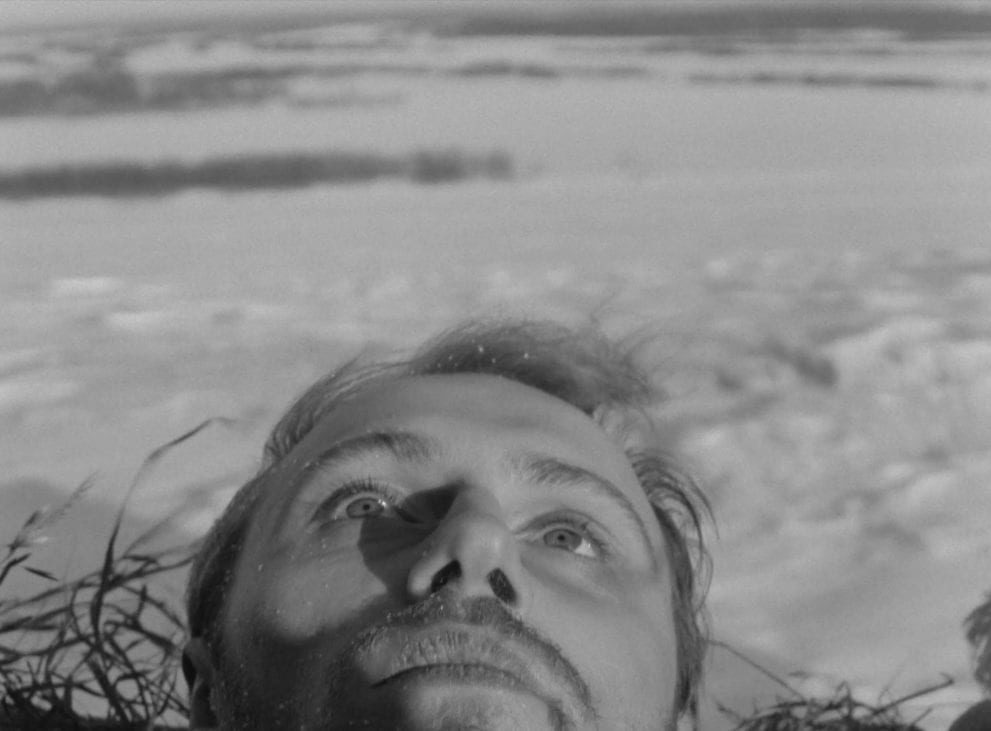 His head framed by strands of straw, the character Sotnikov gazes upward at the sky, a snowy field behind him in this image from The Ascent.