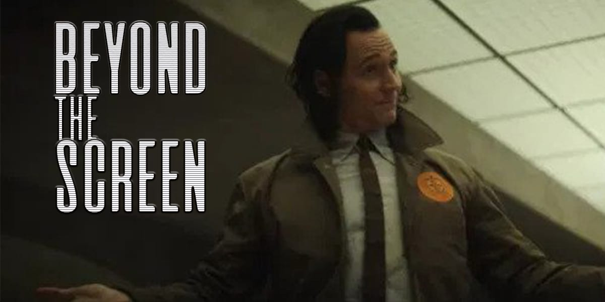 Loki stands with arms outstretched to the side, with Beyond the Screen superimposed on the left of the frame