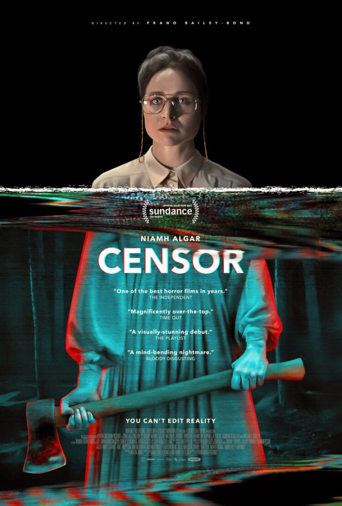 The censor poster shows Enid's face as the repressed censor a line of static at shoulder level where the Video presentation and colorations shows her holding an ax