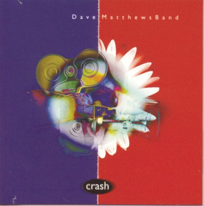 Half blue and half red, the cover of Dave Matthews Band Crash has a colorful design in the middle