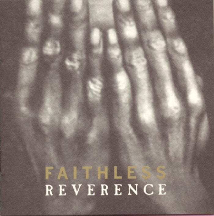 Hands cover a face on the cover of Faithless Reverence