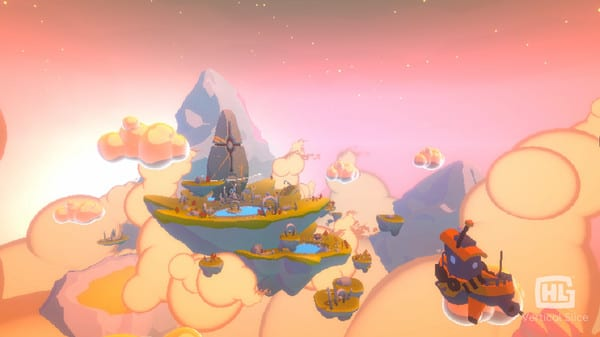 A series of floating islands with an airship approacing